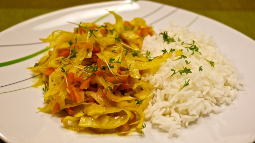 China Weißkraut-Karotte mit Reis
